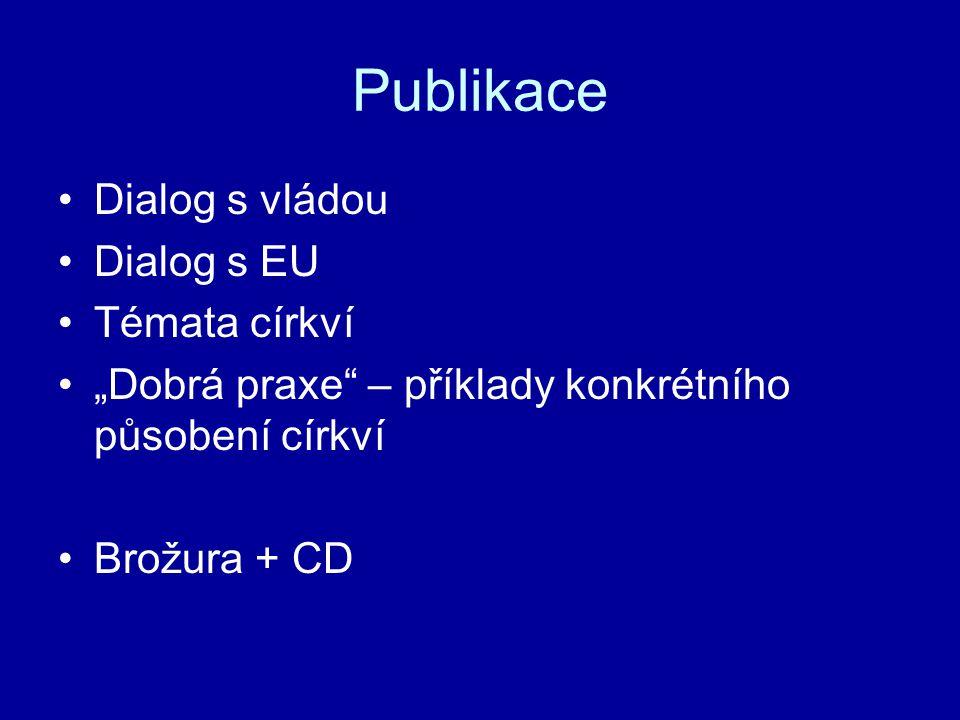 """Publikace Dialog s vládou Dialog s EU Témata církví """"Dobrá praxe – příklady konkrétního působení církví Brožura + CD"""