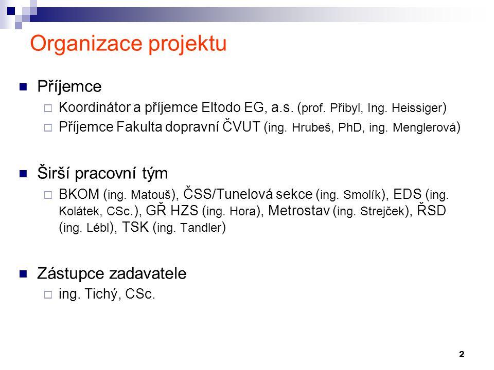 2 Organizace projektu Příjemce  Koordinátor a příjemce Eltodo EG, a.s. ( prof. Přibyl, Ing. Heissiger )  Příjemce Fakulta dopravní ČVUT ( ing. Hrube