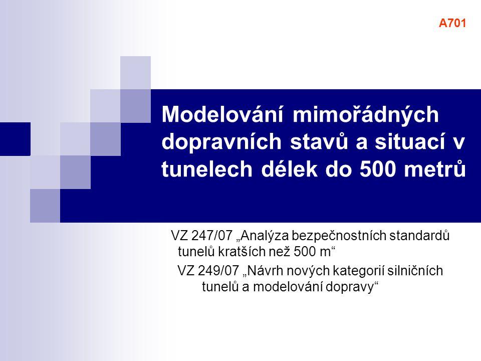 """Modelování mimořádných dopravních stavů a situací v tunelech délek do 500 metrů VZ 247/07 """"Analýza bezpečnostních standardů tunelů kratších než 500 m"""""""
