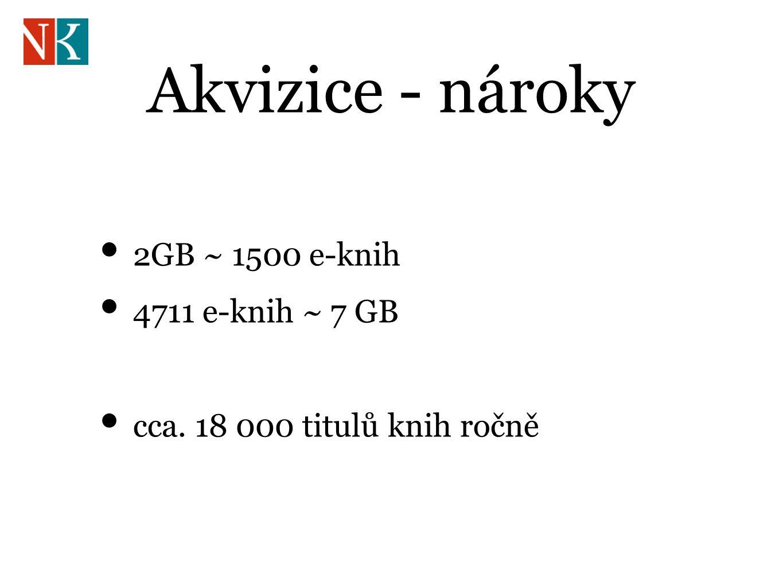 Akvizice - nároky 2GB ~ 1500 e-knih 4711 e-knih ~ 7 GB cca. 18 000 titulů knih ročně