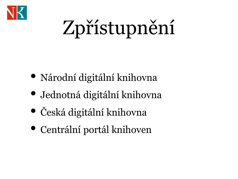 Zpřístupnění Národní digitální knihovna Jednotná digitální knihovna Česká digitální knihovna Centrální portál knihoven