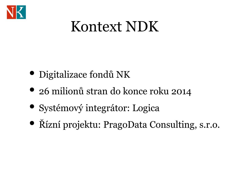 Kontext NDK Digitalizace fondů NK 26 milionů stran do konce roku 2014 Systémový integrátor: Logica Řízní projektu: PragoData Consulting, s.r.o.