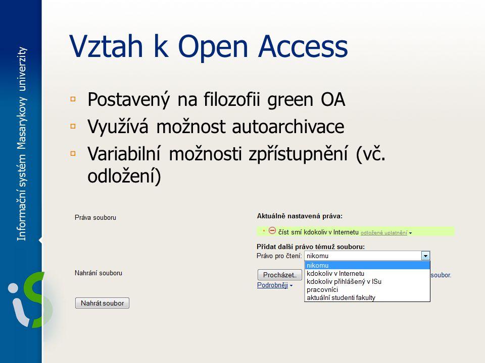 Vztah k Open Access ▫ Postavený na filozofii green OA ▫ Využívá možnost autoarchivace ▫ Variabilní možnosti zpřístupnění (vč.