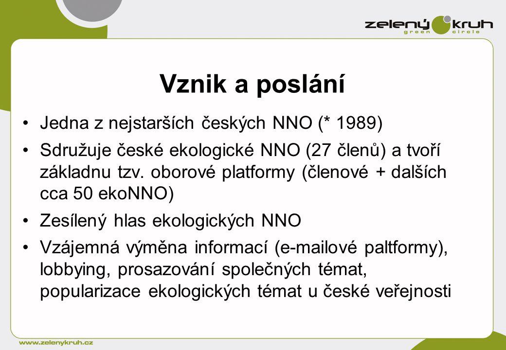 Vznik a poslání Jedna z nejstarších českých NNO (* 1989) Sdružuje české ekologické NNO (27 členů) a tvoří základnu tzv.