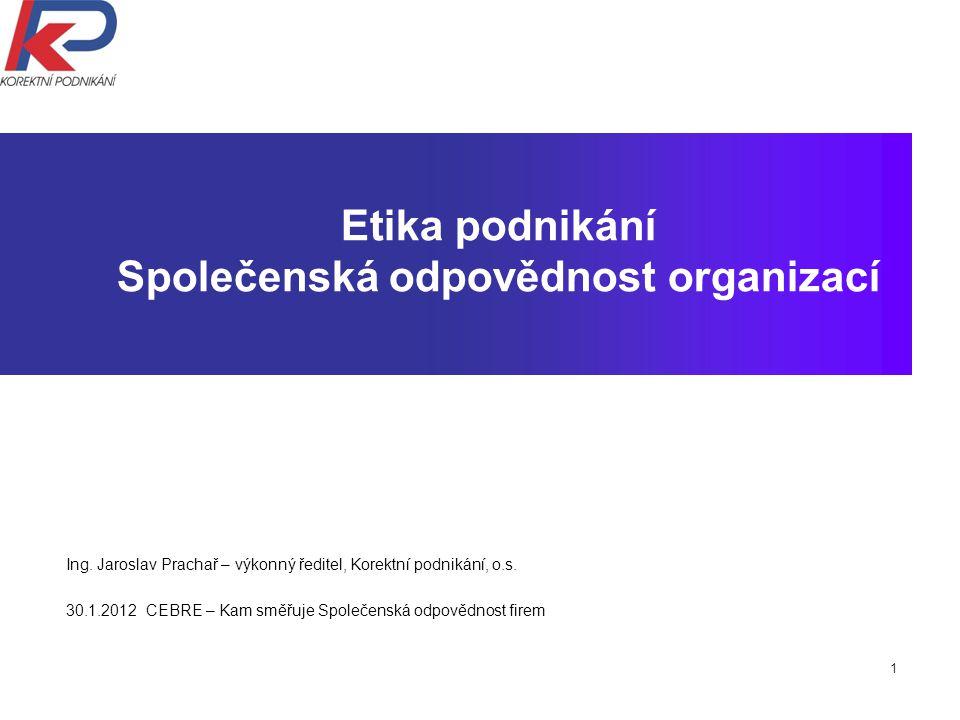1 Etika podnikání Společenská odpovědnost organizací Ing.