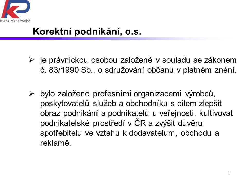 6 Korektní podnikání, o.s.  je právnickou osobou založené v souladu se zákonem č.