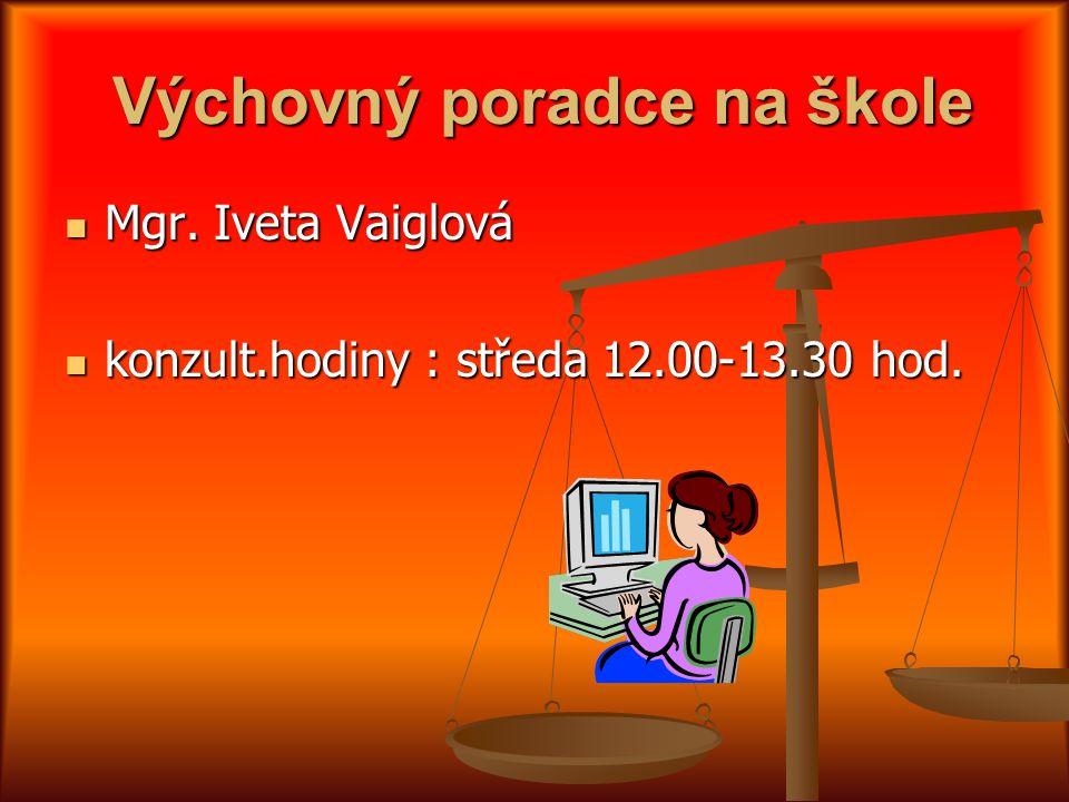 Výchovný poradce na škole Výchovný poradce na škole Mgr. Iveta Vaiglová Mgr. Iveta Vaiglová konzult.hodiny : středa 12.00-13.30 hod. konzult.hodiny :