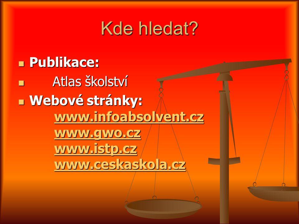 Kde hledat? Publikace: Publikace: Atlas školství Atlas školství Webové stránky: www.infoabsolvent.cz www.gwo.cz www.istp.cz www.ceskaskola.cz Webové s