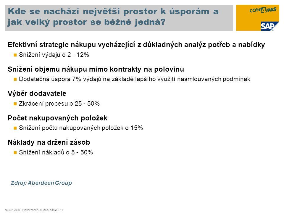 © SAP 2009 / Webseminář Efektivní nákup - 11 Kde se nachází největší prostor k úsporám a jak velký prostor se běžně jedná? Efektivní strategie nákupu