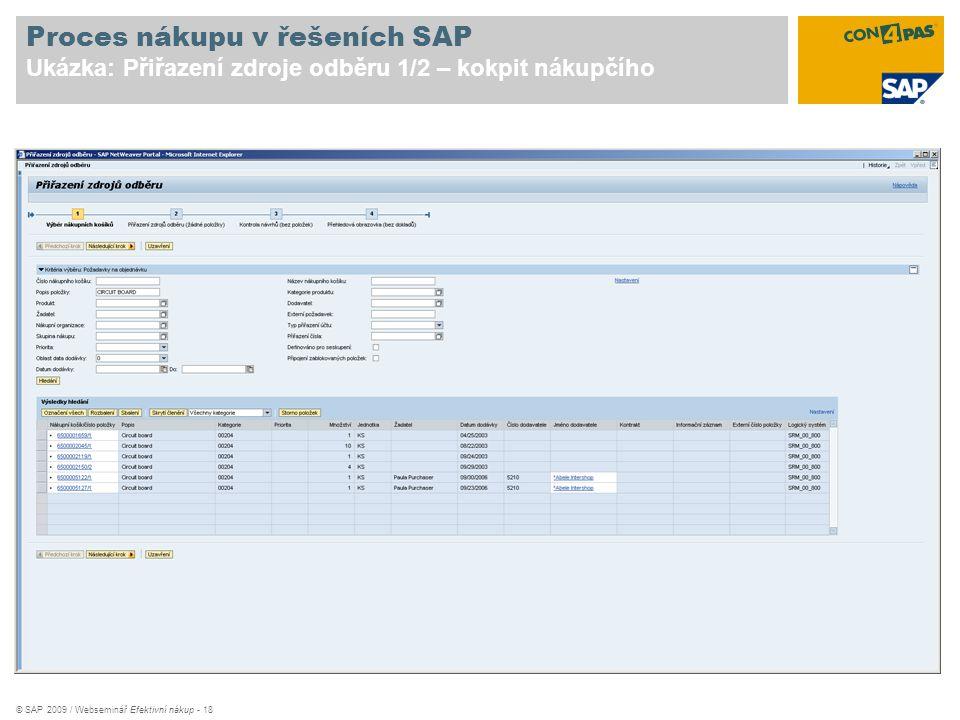 © SAP 2009 / Webseminář Efektivní nákup - 18 Proces nákupu v řešeních SAP Ukázka: Přiřazení zdroje odběru 1/2 – kokpit nákupčího