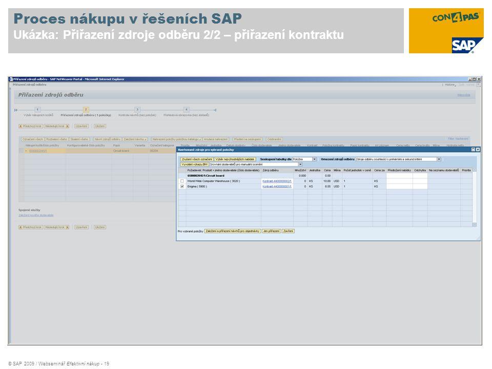 © SAP 2009 / Webseminář Efektivní nákup - 19 Proces nákupu v řešeních SAP Ukázka: Přiřazení zdroje odběru 2/2 – přiřazení kontraktu