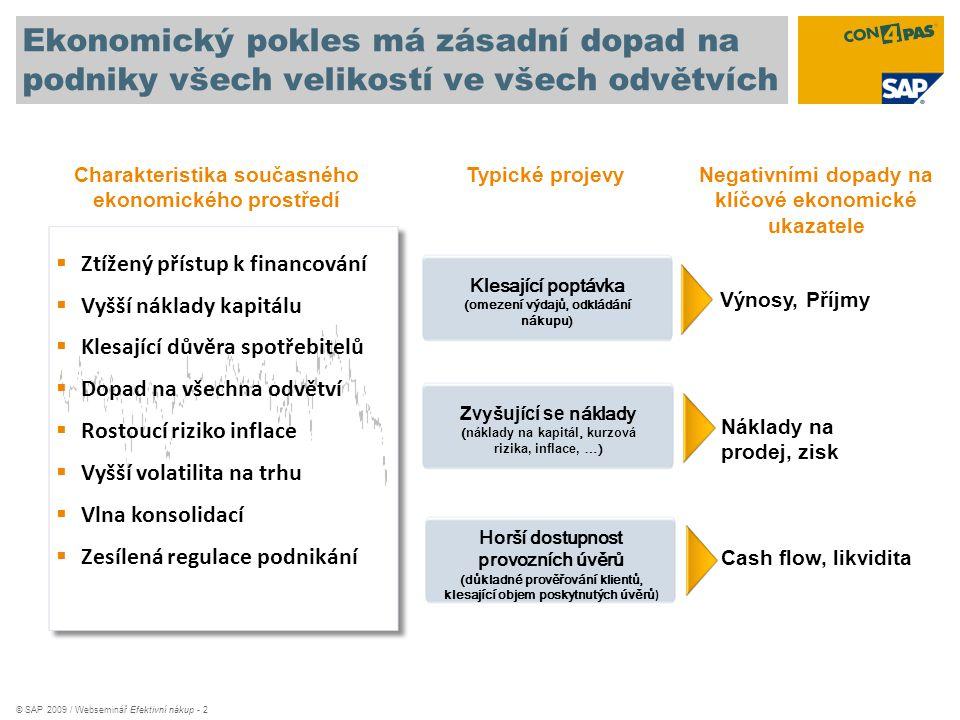 © SAP 2009 / Webseminář Efektivní nákup - 2 Ekonomický pokles má zásadní dopad na podniky všech velikostí ve všech odvětvích Charakteristika současnéh