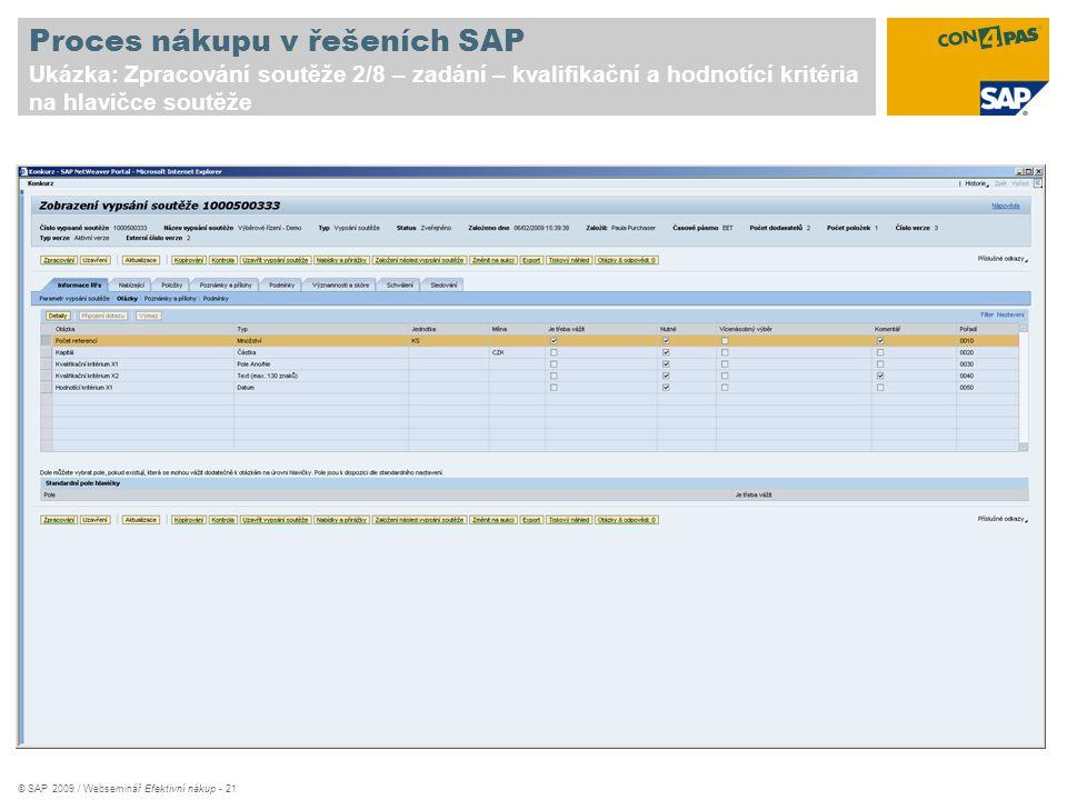 © SAP 2009 / Webseminář Efektivní nákup - 21 Proces nákupu v řešeních SAP Ukázka: Zpracování soutěže 2/8 – zadání – kvalifikační a hodnotící kritéria