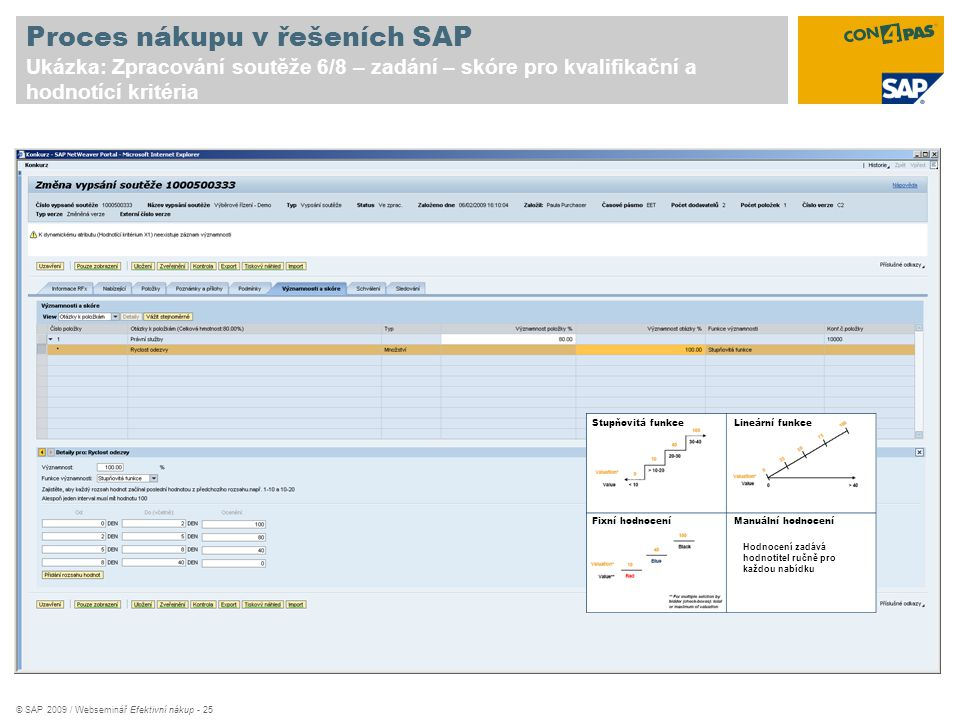 © SAP 2009 / Webseminář Efektivní nákup - 25 Proces nákupu v řešeních SAP Ukázka: Zpracování soutěže 6/8 – zadání – skóre pro kvalifikační a hodnotící