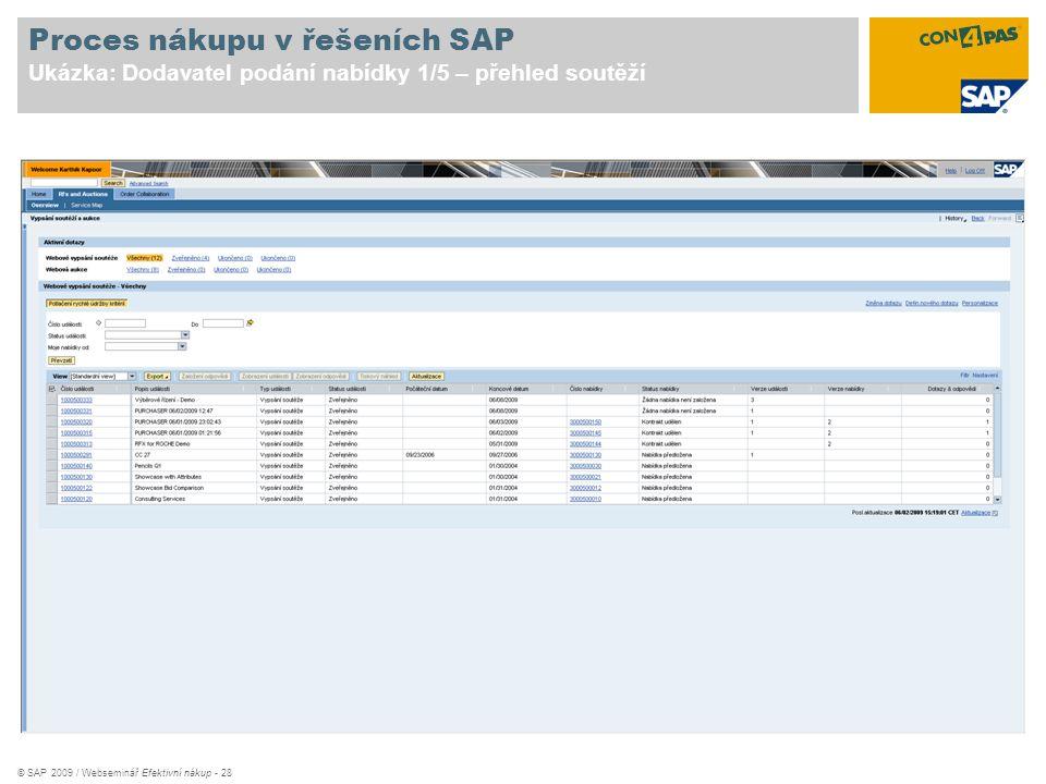 © SAP 2009 / Webseminář Efektivní nákup - 28 Proces nákupu v řešeních SAP Ukázka: Dodavatel podání nabídky 1/5 – přehled soutěží