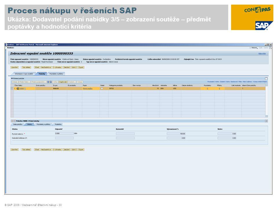 © SAP 2009 / Webseminář Efektivní nákup - 30 Proces nákupu v řešeních SAP Ukázka: Dodavatel podání nabídky 3/5 – zobrazení soutěže – předmět poptávky