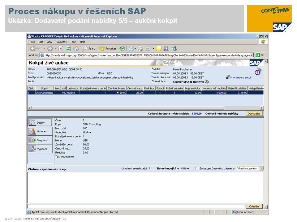 © SAP 2009 / Webseminář Efektivní nákup - 32 Proces nákupu v řešeních SAP Ukázka: Dodavatel podání nabídky 5/5 – aukční kokpit