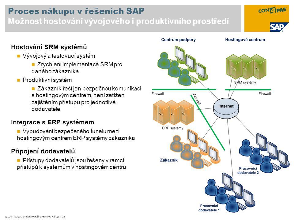 © SAP 2009 / Webseminář Efektivní nákup - 35 Proces nákupu v řešeních SAP Možnost hostování vývojového i produktivního prostředí Hostování SRM systémů