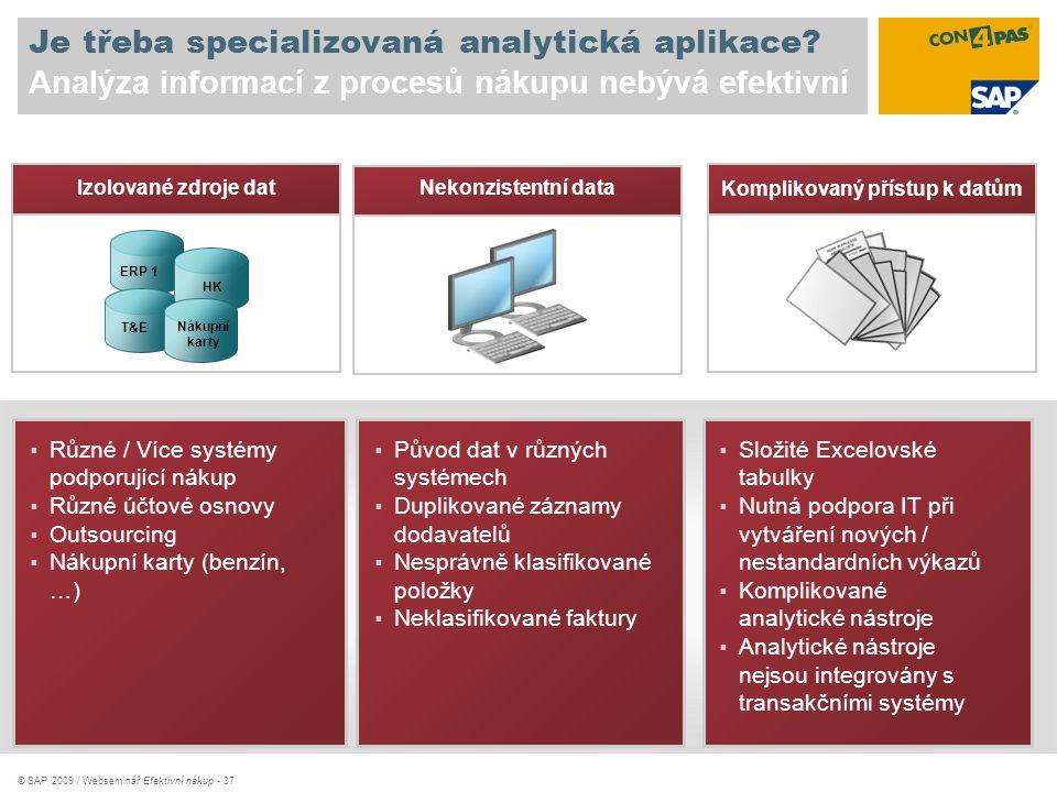 © SAP 2009 / Webseminář Efektivní nákup - 37 Je třeba specializovaná analytická aplikace? Analýza informací z procesů nákupu nebývá efektivní  Různé