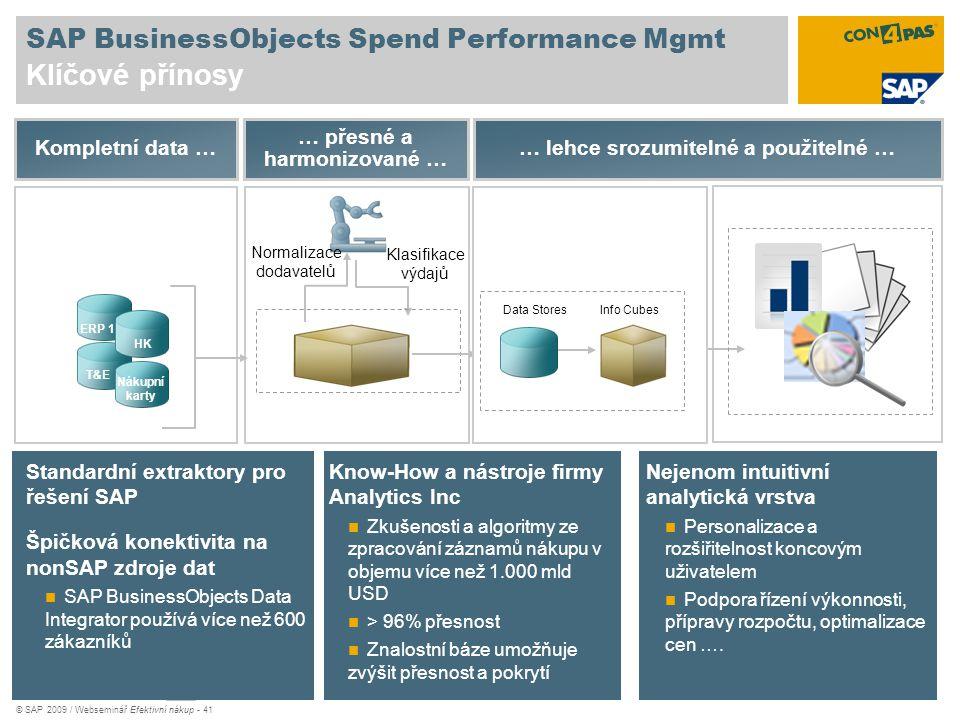 © SAP 2009 / Webseminář Efektivní nákup - 41 SAP BusinessObjects Spend Performance Mgmt Klíčové přínosy Normalizace dodavatelů Klasifikace výdajů … př