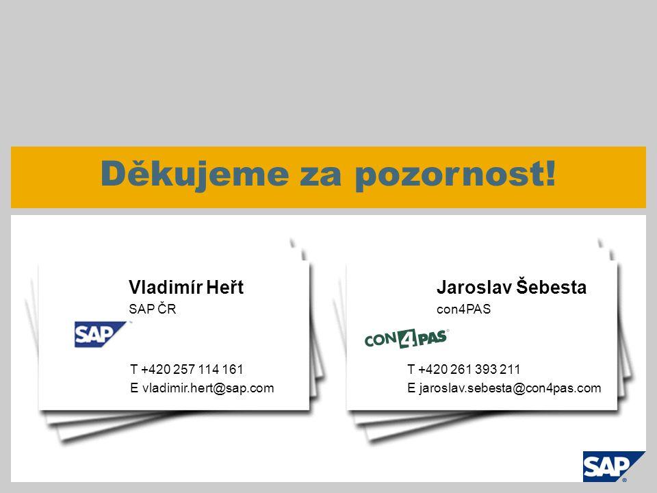 © SAP 2009 / Webseminář Efektivní nákup - 47 Děkujeme za pozornost! T +420 257 114 161 E vladimir.hert@sap.com Vladimír Heřt SAP ČR T +420 261 393 211