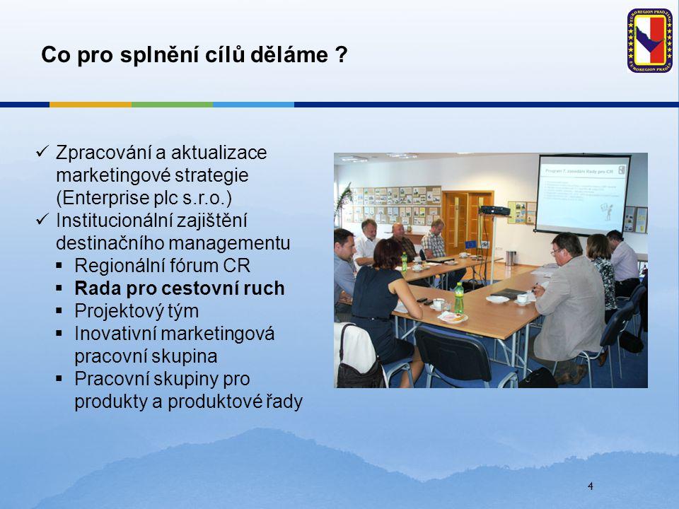 4 Co pro splnění cílů děláme ? Zpracování a aktualizace marketingové strategie (Enterprise plc s.r.o.) Institucionální zajištění destinačního manageme