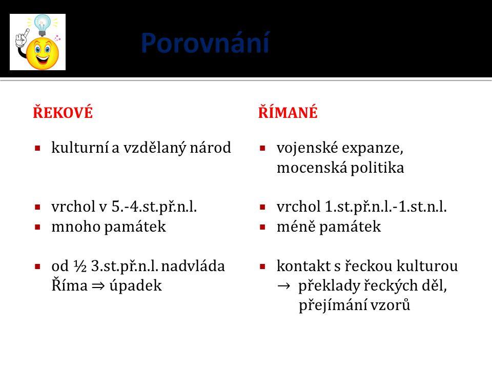 Jazyk  latinský (Latinové žijící v okolí Říma)  latina vulgární (lidová) > románské jazyky  např.
