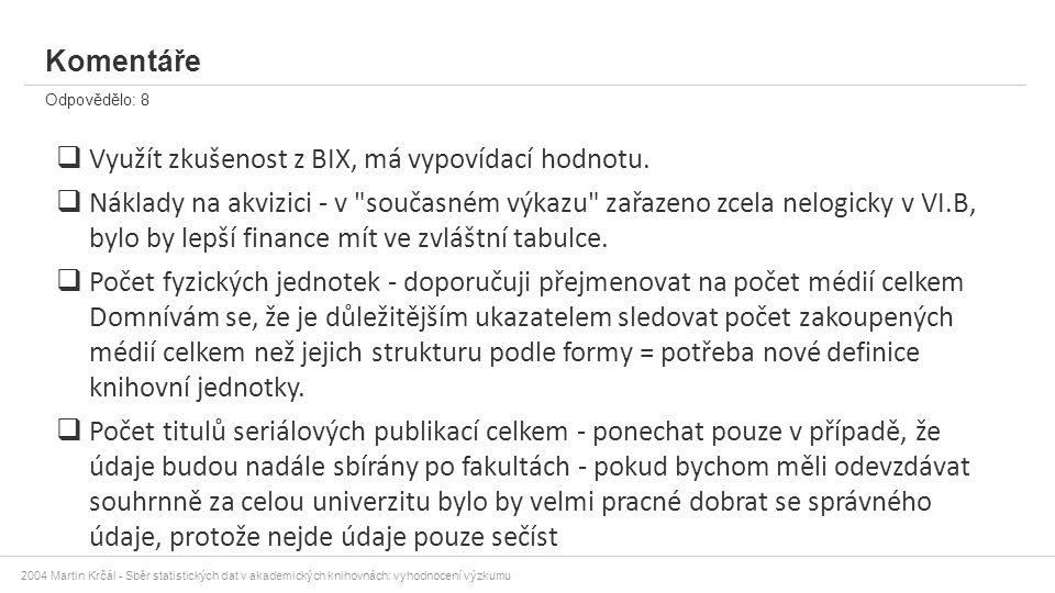 2004 Martin Krčál - Sběr statistických dat v akademických knihovnách: vyhodnocení výzkumu Komentáře Odpovědělo: 8  Využít zkušenost z BIX, má vypovíd