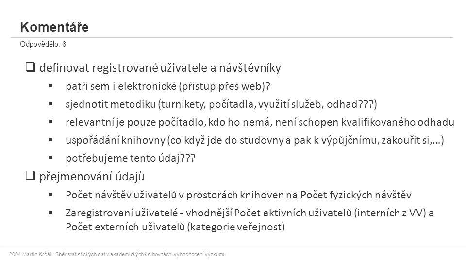 2004 Martin Krčál - Sběr statistických dat v akademických knihovnách: vyhodnocení výzkumu Komentáře Odpovědělo: 6  definovat registrované uživatele a