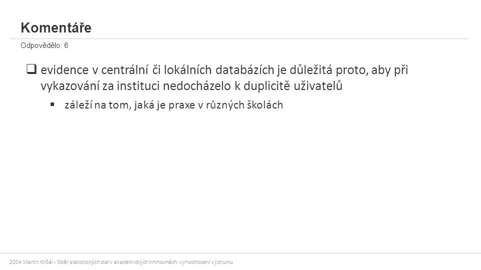 2004 Martin Krčál - Sběr statistických dat v akademických knihovnách: vyhodnocení výzkumu Komentáře Odpovědělo: 6  evidence v centrální či lokálních