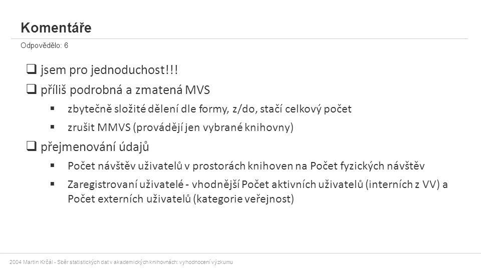2004 Martin Krčál - Sběr statistických dat v akademických knihovnách: vyhodnocení výzkumu Komentáře Odpovědělo: 6  jsem pro jednoduchost!!!  příliš