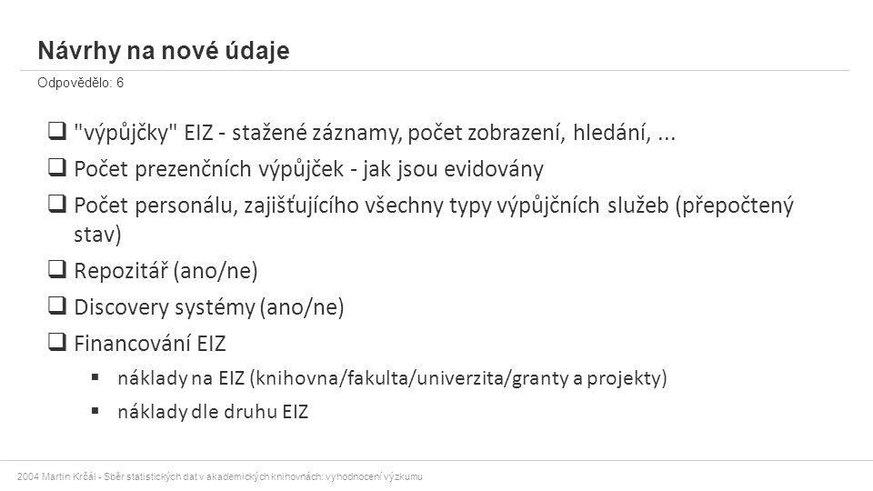 2004 Martin Krčál - Sběr statistických dat v akademických knihovnách: vyhodnocení výzkumu Návrhy na nové údaje Odpovědělo: 6 