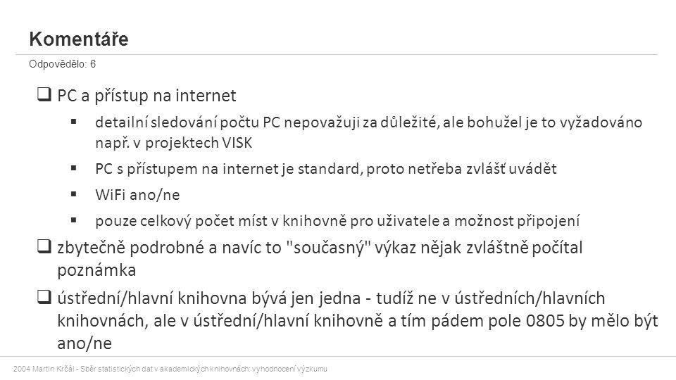 2004 Martin Krčál - Sběr statistických dat v akademických knihovnách: vyhodnocení výzkumu Komentáře Odpovědělo: 6  PC a přístup na internet  detailn
