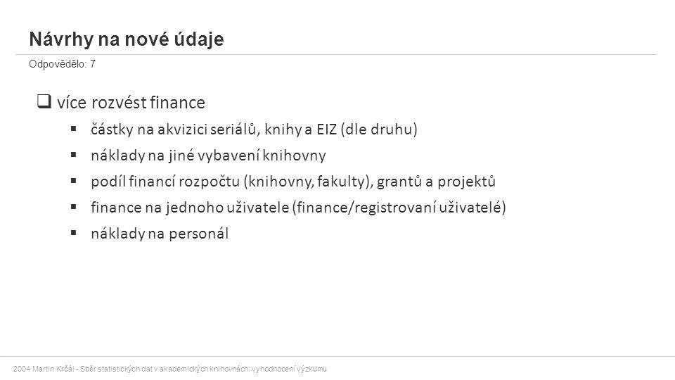 2004 Martin Krčál - Sběr statistických dat v akademických knihovnách: vyhodnocení výzkumu Návrhy na nové údaje Odpovědělo: 7  více rozvést finance 
