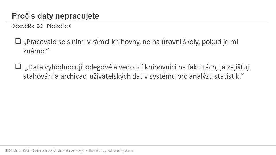 """2004 Martin Krčál - Sběr statistických dat v akademických knihovnách: vyhodnocení výzkumu Proč s daty nepracujete Odpovědělo: 2/2 Přeskočilo: 0  """"Pra"""