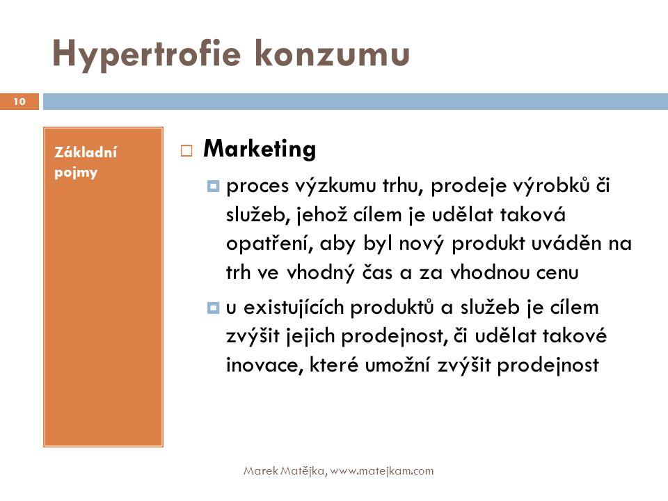 Hypertrofie konzumu Základní pojmy  Marketing  proces výzkumu trhu, prodeje výrobků či služeb, jehož cílem je udělat taková opatření, aby byl nový p