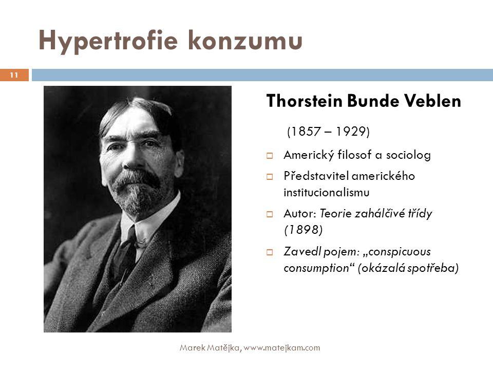 Hypertrofie konzumu Thorstein Bunde Veblen (1857 – 1929)  Americký filosof a sociolog  Představitel amerického institucionalismu  Autor: Teorie zah