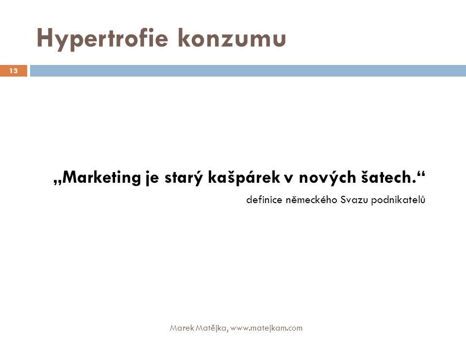 """Hypertrofie konzumu """"Marketing je starý kašpárek v nových šatech."""" definice německého Svazu podnikatelů 13 Marek Matějka, www.matejkam.com"""