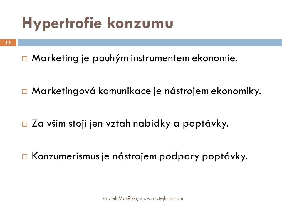 Hypertrofie konzumu Marek Matějka, www.matejkam.com 15  Marketing je pouhým instrumentem ekonomie.  Marketingová komunikace je nástrojem ekonomiky.