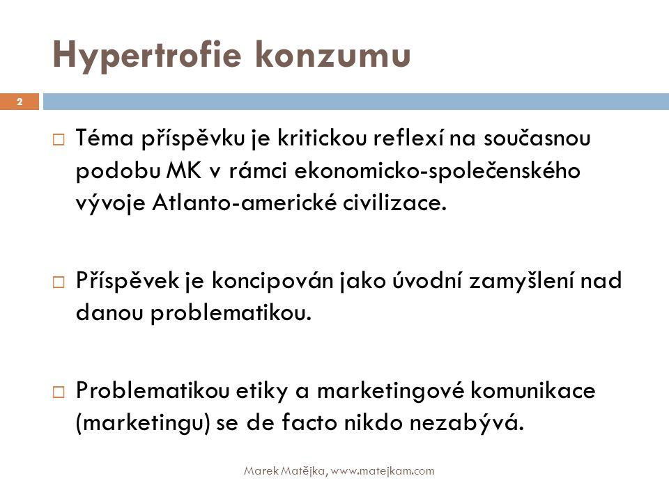 """Hypertrofie konzumu """"Marketing je starý kašpárek v nových šatech. definice německého Svazu podnikatelů 13 Marek Matějka, www.matejkam.com"""