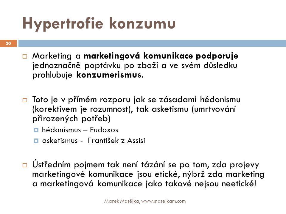 Hypertrofie konzumu Marek Matějka, www.matejkam.com 20  Marketing a marketingová komunikace podporuje jednoznačně poptávku po zboží a ve svém důsledk