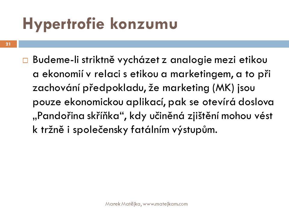 Hypertrofie konzumu Marek Matějka, www.matejkam.com 21  Budeme-li striktně vycházet z analogie mezi etikou a ekonomií v relaci s etikou a marketingem