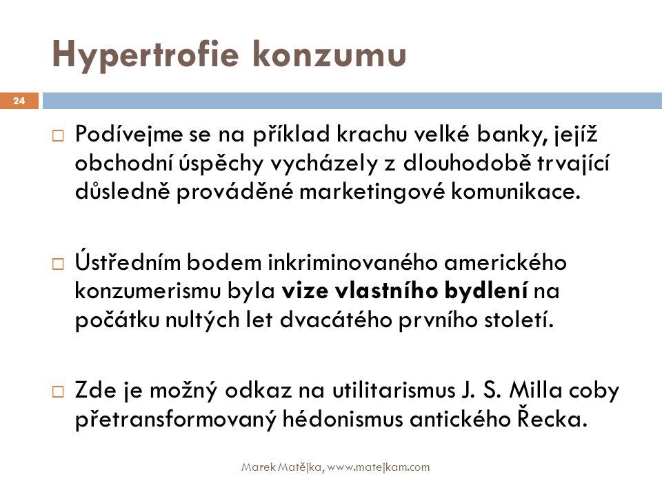 Hypertrofie konzumu Marek Matějka, www.matejkam.com 24  Podívejme se na příklad krachu velké banky, jejíž obchodní úspěchy vycházely z dlouhodobě trv