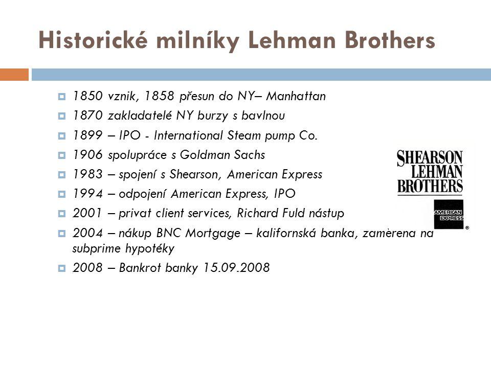 Historické milníky Lehman Brothers  1850 vznik, 1858 přesun do NY– Manhattan  1870 zakladatelé NY burzy s bavlnou  1899 – IPO - International Steam