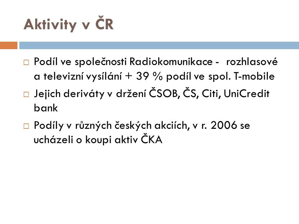 Aktivity v ČR  Podíl ve společnosti Radiokomunikace - rozhlasové a televizní vysílání + 39 % podíl ve spol. T-mobile  Jejich deriváty v držení ČSOB,