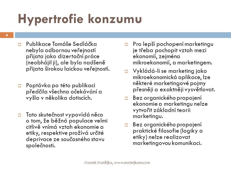 Hypertrofie konzumu  Publikace Tomáše Sedláčka nebyla odbornou veřejností přijata jako dizertační práce (neobhájil ji), ale byla nadšeně přijata širo
