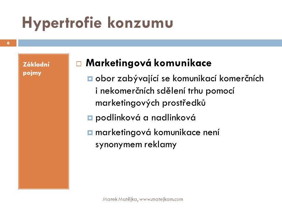 Hypertrofie konzumu Základní pojmy  Marketingová komunikace  obor zabývající se komunikací komerčních i nekomerčních sdělení trhu pomocí marketingov