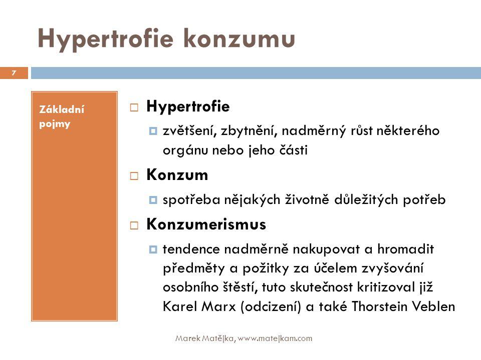 Hypertrofie konzumu Základní pojmy  Hypertrofie  zvětšení, zbytnění, nadměrný růst některého orgánu nebo jeho části  Konzum  spotřeba nějakých živ