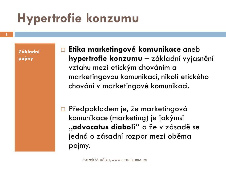 Hypertrofie konzumu Marek Matějka, www.matejkam.com 8 Základní pojmy  Etika marketingové komunikace aneb hypertrofie konzumu – základní vyjasnění vzt
