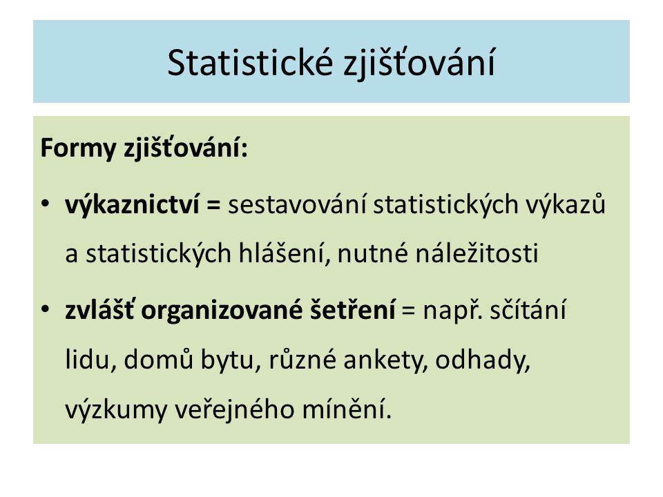 Statistické zjišťování Formy zjišťování: výkaznictví = sestavování statistických výkazů a statistických hlášení, nutné náležitosti zvlášť organizované šetření = např.